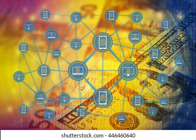 The digital currency or coded money concept. . Blockchain network against double exposure of international banknotes and abstract binary code background.