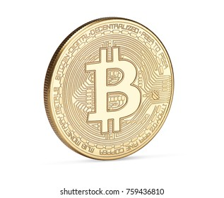 Digital currency. Cryptocurrency. Golden bitcoin isolated on white background. Physical bit coin