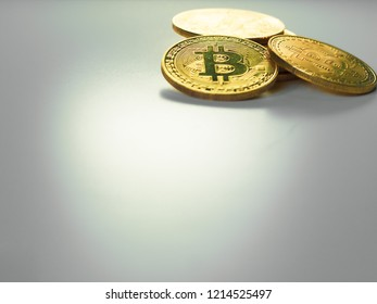 digital currency and financial concept from close up group of gold bitcoin arrange on white isolated background