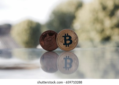 Digital currency physical gold bitcoin coin and brass dogecoin coin.