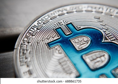 Digital currency physical silver bitcoin coin. Business bitcoin concept.