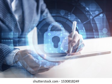Digital cybersecurity concept of neutralizing cyber threats on Internet. Firewall and antivirus software. Virtual locking mechanism to access shared resources. Businessman working at tablet computer.