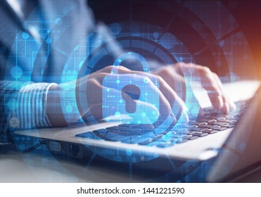 Digital cybersecurity and network protection concept. Virtual locking mechanism to access shared resources. Interactive virtual control screen with padlock. Businessman working at laptop on background