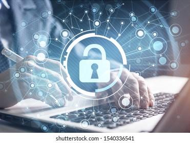 Digitale Cybersicherheit und Netzschutz. Virtueller Verriegelungsmechanismus für den Zugriff auf freigegebene Ressourcen. Interaktiver virtueller Kontrollbildschirm. Schutz personenbezogener Daten und der Privatsphäre vor Cyberangriffen und Hackern