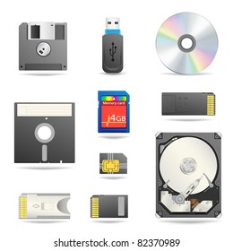 Digital data devices icon set isolated on the white background