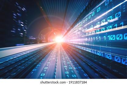 Digitaler Datenfluss auf der Straße mit Bewegungsunschärfe zu schaffen Vision von schnellen Transfer . Konzept der zukünftigen digitalen Transformation , revolutionäre Innovation und agile Geschäftsmethodik .