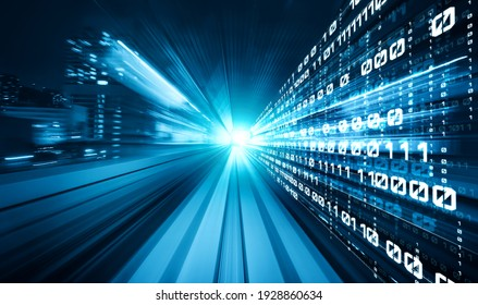 Digital data flow on road with motion blur to create vision of fast speed transfer . Concept of future digital transformation , disruptive innovation and agile business methodology . - Shutterstock ID 1928860634