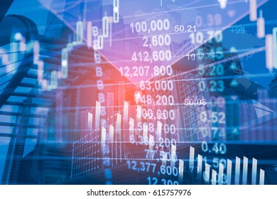 Digital data indicator analysis on financial market trade chart. Concept Stock data trade. Double exposure style