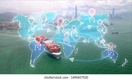 digital delivery,  logistic and transportation technology concept.Global business of Cargo freight.International import export trade