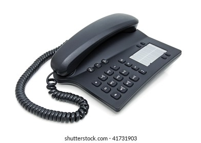 Digital deskmounted telephone on white background