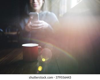 Digital Device Coffee Drinking Leisure Internet Concept