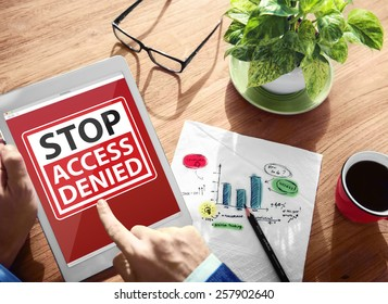 Digital Device Wireless Browsing Stop Access Denied Concept