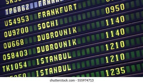 Digital display at the airport shows flights to Dubrovnik, Frankfurt, Istanbul, Sochi