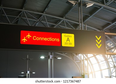 Digital display at international airport. Board showing connections sign and gate information.
