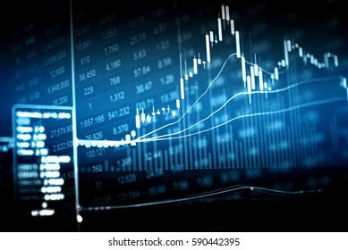Digital display of Stock market quotes and Stock market chart.