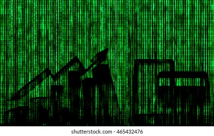 Digital disruption concept background image.Silhouette of Economical stock market graph,mobile and credit card with binary code abstract background.Representing sharing economy in digital disruption.