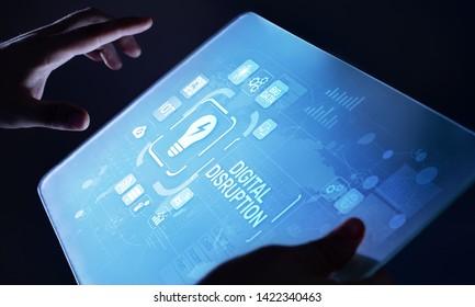 Digital disruption  digitalisation transformation internet technology business concept on virtual screen.