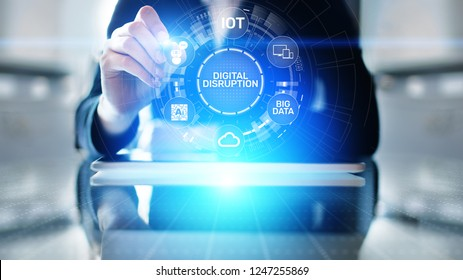 Digital Disruption. Disruptive business ideas. IOT internet of things, network, smart city and machines, big data, cloud, analytics, web-scale IT, Artificial intelligence, AI.