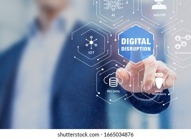 Digital disruption with emerging technologies such as internet of things (IoT), artificial intelligence (AI), big data analytics and blockchain fintech. Disruptive innovation concept with businessman