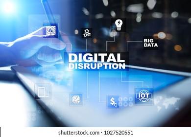 Digital disruption, future technology concept.