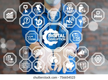 Digital Disruption Healthcare concept. Doctor using virtual interface offers gear digital disruption text icon.