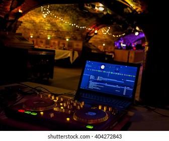 Digital DJ Music System Set Up For Party. Laptop & Decks