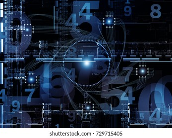 Digital Domain series. Abstract arrangement of fractal geometry structures, lines and numbers suitable for projects on data processing, virtual reality, computers, science and math