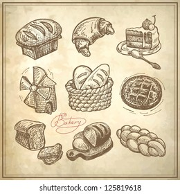 digital drawing bakery icon set on grunge paper background, raster version