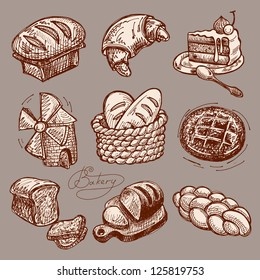 digital drawing bakery icon set, raster version