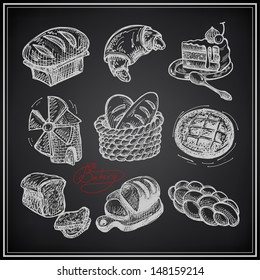 digital drawing bakery icon set on black background, raster version