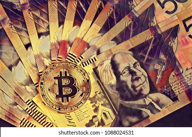 Digital drawing of Bitcoin on top of Australian 50 dollar bills. Conceptual artwork