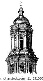digital drawing of historical building, Kiev, tower Pecherskaya Laurel, vintage engraving style. Raster version