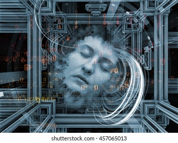 Digital Dreams series. Arrangement of human face and digital structures on the subject of mind, thought, sleep, science and education
