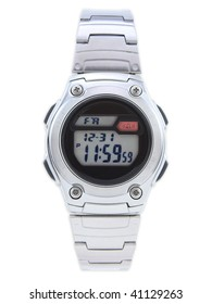 Digital Dress Watch with red alarm on white