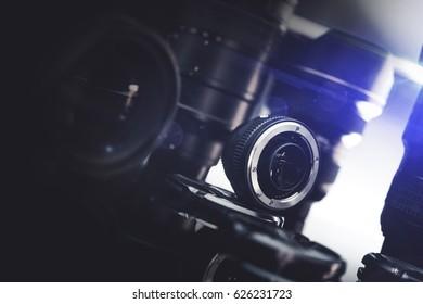 Digital DSLR Camera and Professional Lenses. Photo Business Equipment.