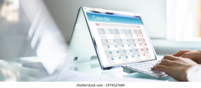 Digital Electronic Calendar Event Appointment On Screen