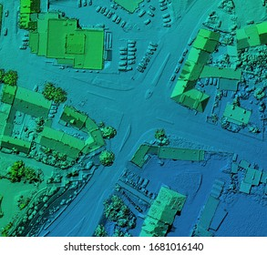 Digital elevation model. GIS product made after proccesing aerial pictures taken from a drone. It shows city urban area with roads and junctions
