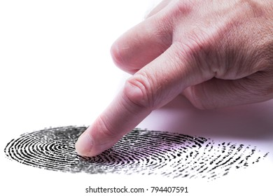 Digital finger print concept for online identity protection showing a finger with a keypad pressing on a finger print mark. White background
