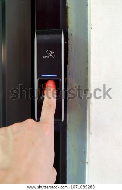 Digital Fingerprint Scanner Keycard Reader Stock Photo (Edit Now