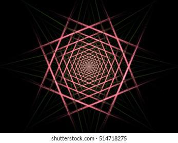 Digital fractal geometric abstract square design
