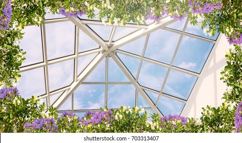 Digital fresco: ceiling with blue sky and green plants, colorful flowers and sunshine.