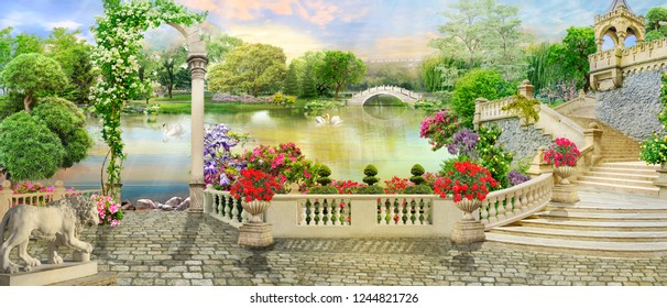 Digital fresco. Flower terrace and access to the lake with white swans and park views