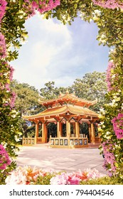 Digital fresco with flowers and asian Budha church. Relax view.