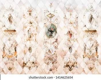 Digital fresco with paintings in neoclassical style on the background of rhombuses