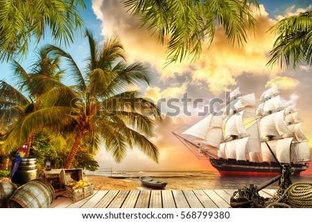 Digital fresco Pirate ship