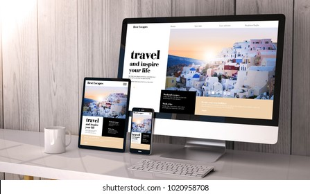 Digital generated devices on desktop, responsive travel website design on screen. All screen graphics are made up. 3d rendering.