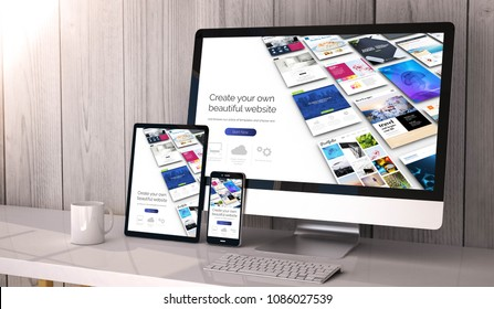 Digital generated devices on desktop, website builder on screen. All screen graphics are made up. 3d rendering.
