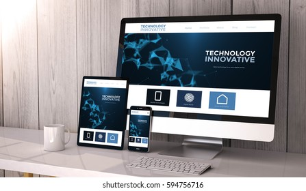 Digital generated devices on desktop, responsive innovative website design on screen. All screen graphics are made up. 3d rendering.