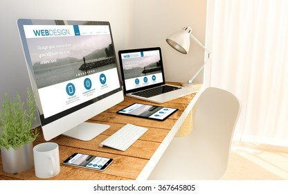 Digital generated devices over a wooden table with responsive design website. All screen graphics are made up. 3d illustration. - Shutterstock ID 367645805