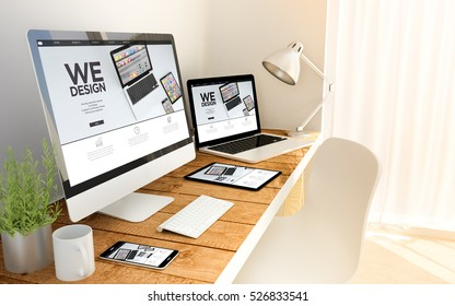 Digital generated devices over a wooden table with design responsive concept. All screen graphics are made up. 3d rendering
